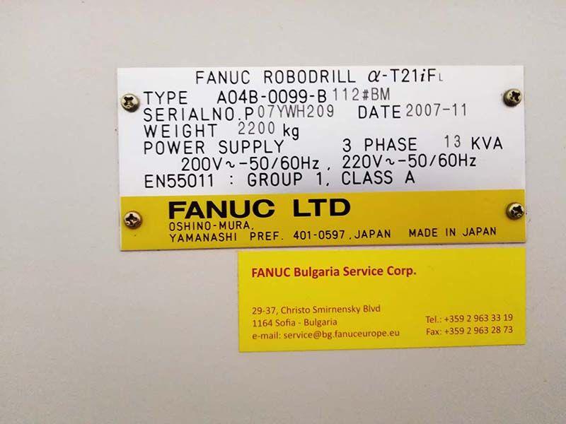 FANUC ROBODRILL T21iF A04B-0099-B Vertical machining center